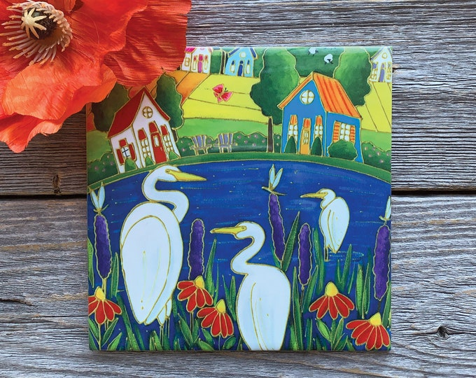 Ceramic tile trivet landscape heron white egret lake art print ceramic