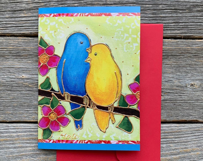 Greeting card birthday card two lover bird blue bird yellow bird