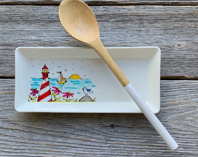 Spoon holder small tray lighthouse sailboat hand paint