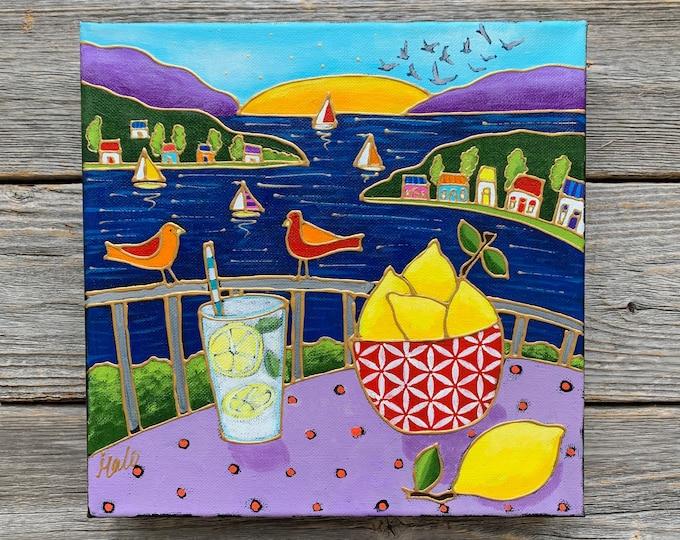 Original acrylic painting on canvas Landscape lemon