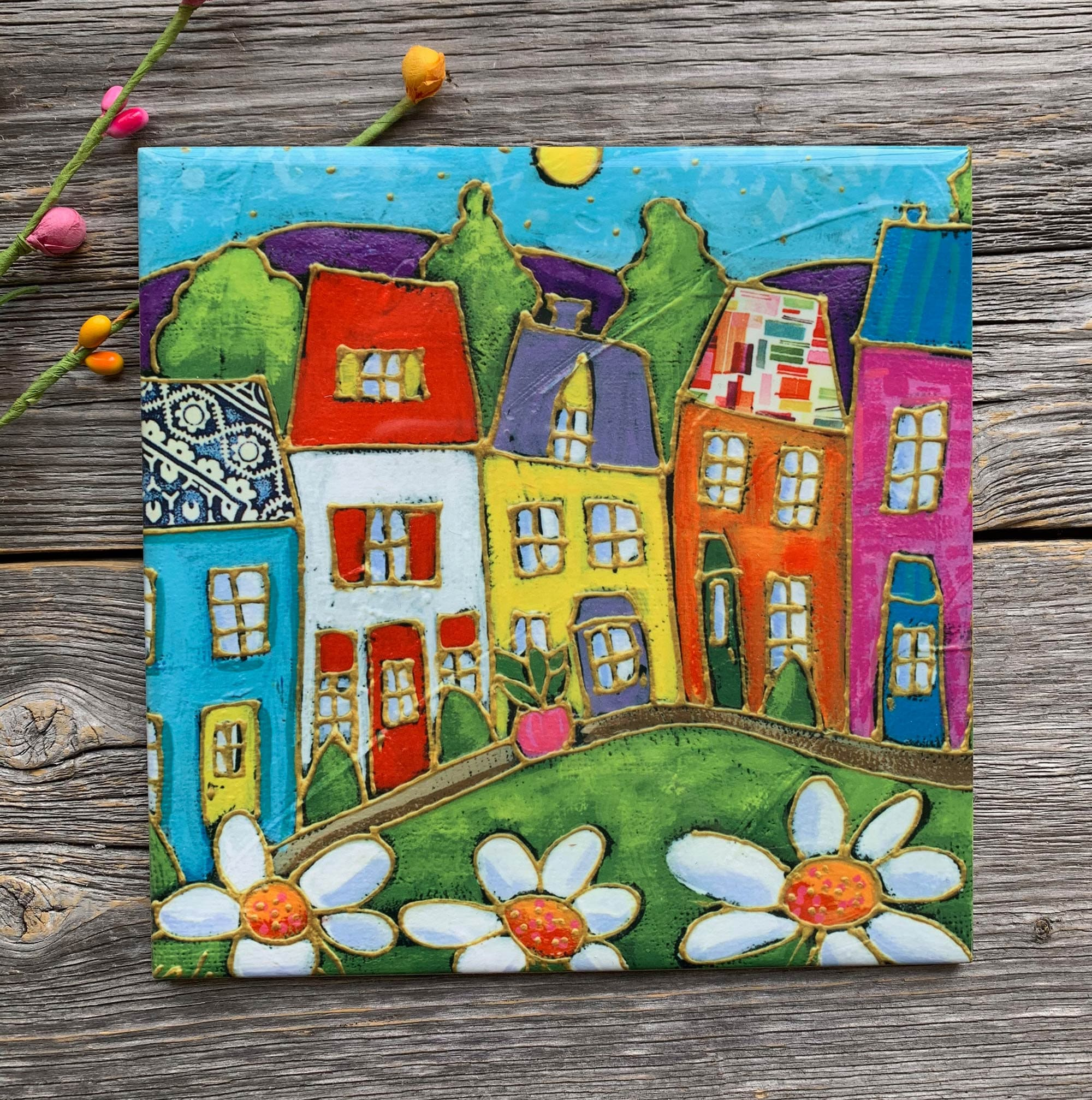 Ceramic Tile Wall Art Colourful Houses Daisy Square Trivet Ceramic Frame Art Ceramic