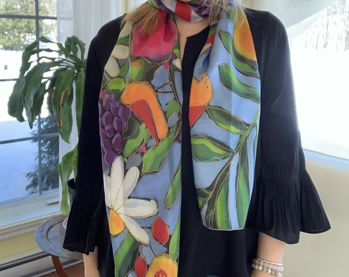 Silk scarf  colourful flower blue pink for woman