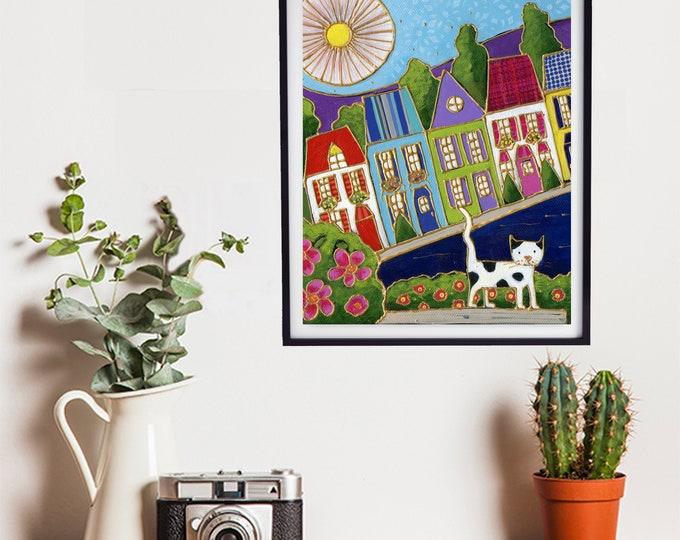 Poster cat art print wall decoration