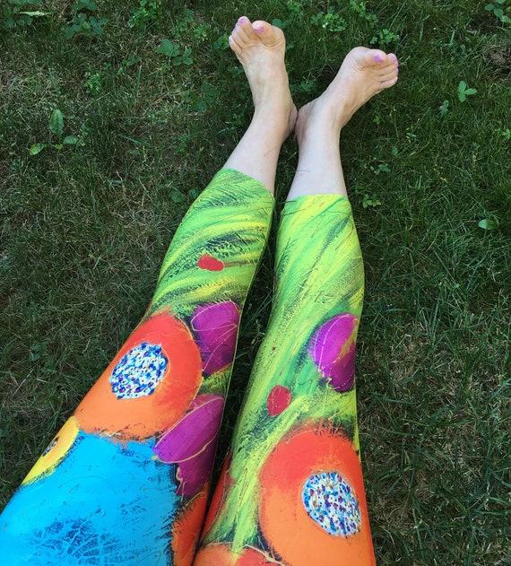 56326d41202b Yoga capris legging   orange flowers green and blue