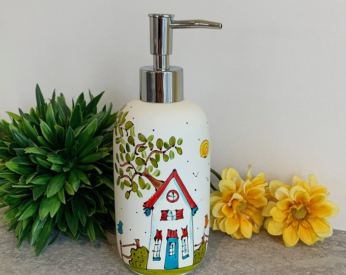 Soap dispenser white porcelain red and yellow bird hand painted