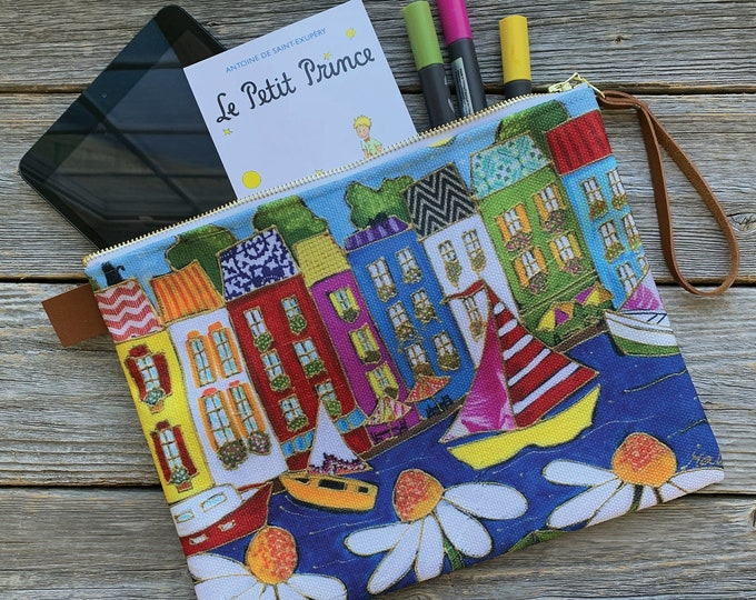 Large Carry All Zipper pouch, Colourful Italy houses and sailboat, Cosmetic pouch, travel friendly, storage bag, mini iPad, small tablette