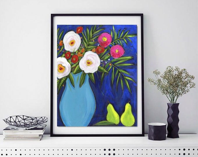 Poster wall decoration blue flower vase white and pink flower