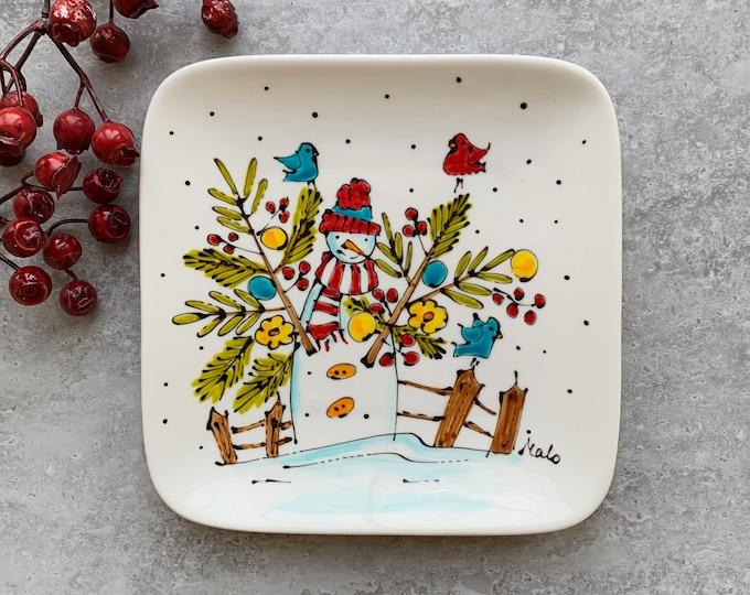 Square porcelain plate hand painted snowman bird