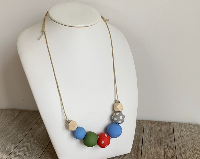 Polymer clay bead necklace blue red green grey hand made