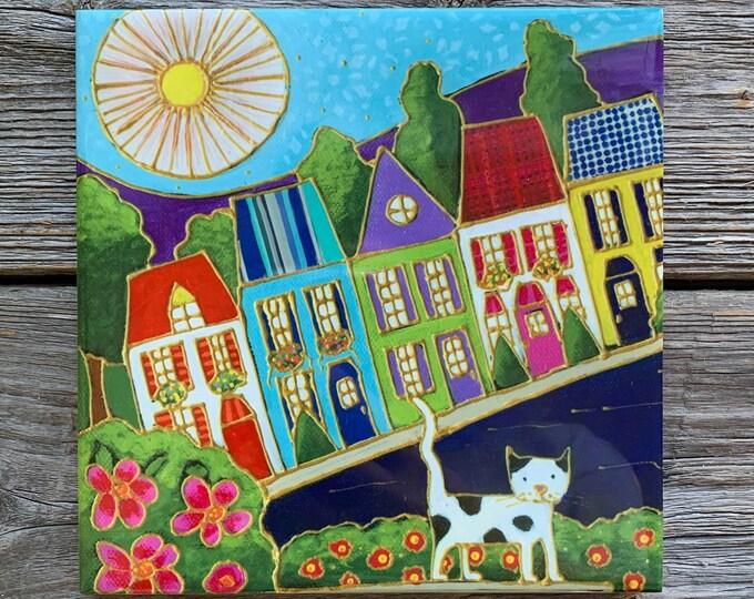 Ceramic tile wall Art, Colourful houses, cat, Sun, square trivet, ceramic frame, wall art ceramic