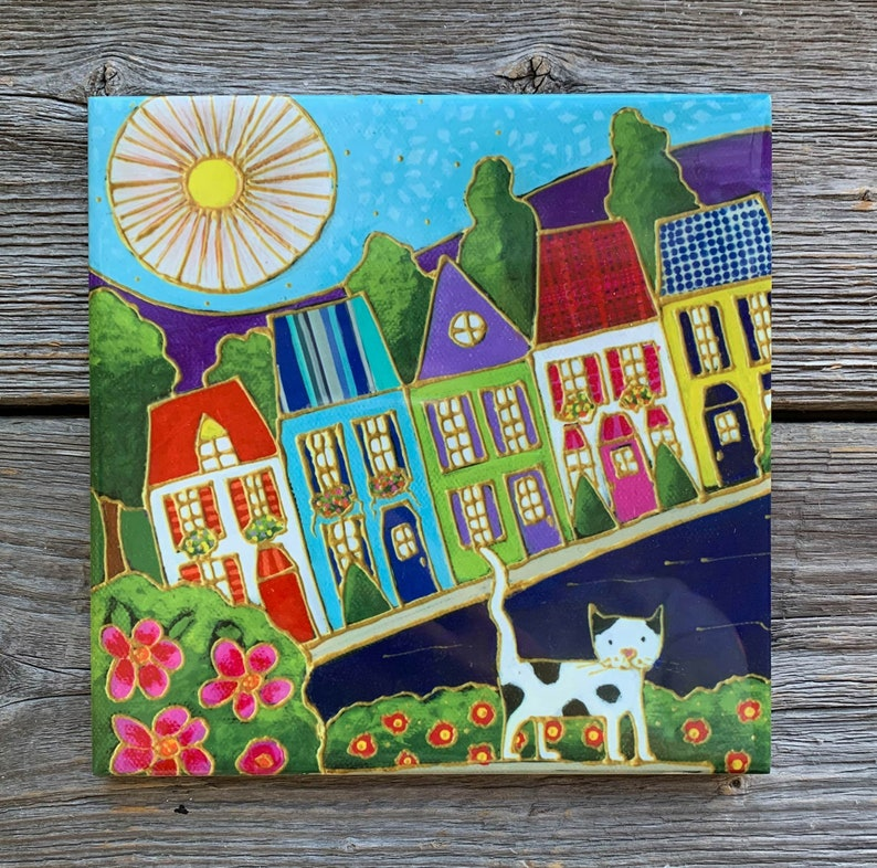 wall art ceramic Sun ceramic frame Ceramic tile wall Art cat Colourful houses square trivet