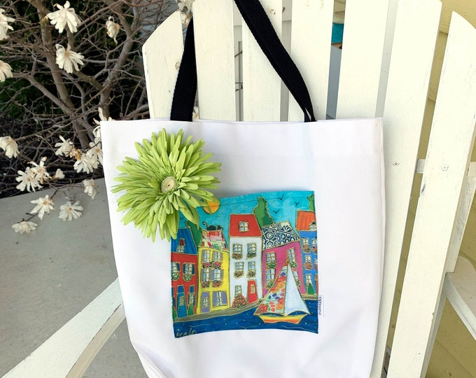Tote bag with pocket shopping bag grocery bag recycle bag colourful houses sailboat