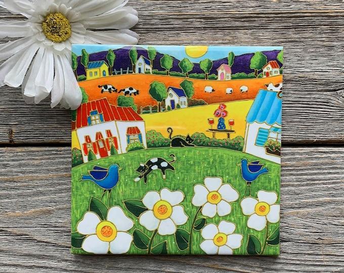 Ceramic tile trivet colourful landscape white flower art print ceramic
