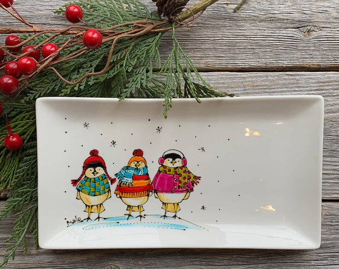 rectangle porcelain plate tree bird with sweater beanie scarf