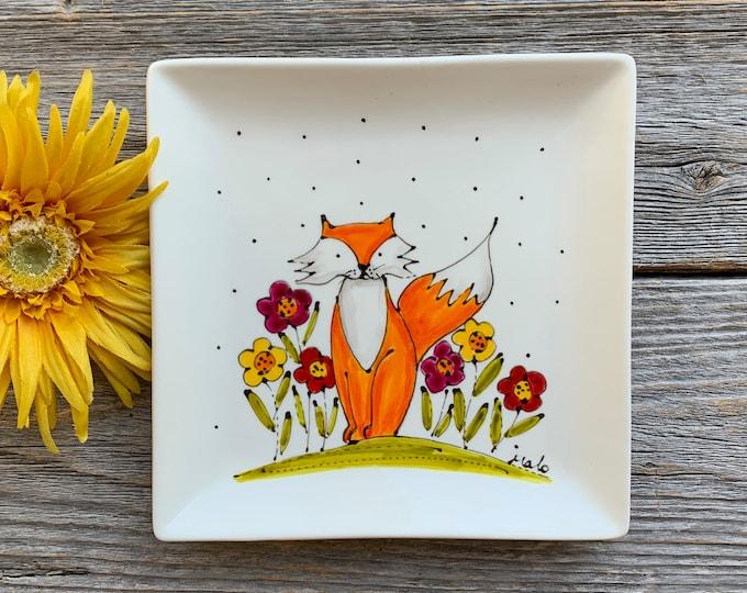Square porcelain plate hand painted orange fox flower serving tray kitchen decoration