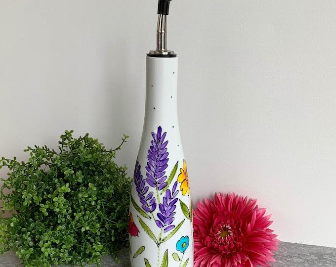 Olive oil Dispenser porcelain lavender pink flower yellow orange blue flowers vinegar Maple sirop Hand painted