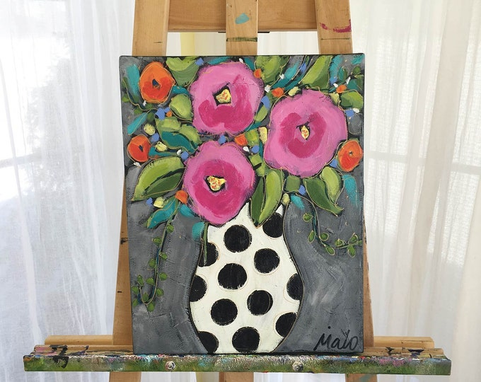 Original acrylic painting on canvas, flowers vase, purple and pink flowers, blue background, home decor