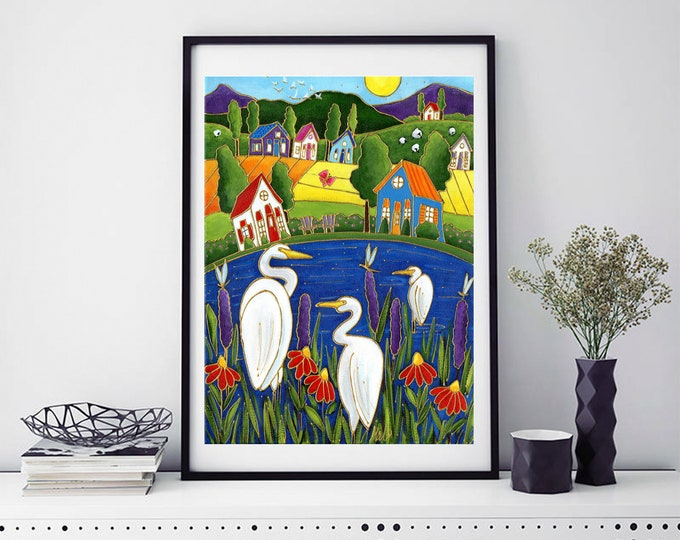 Poster wall art country landscape colourful houses white egret red flower lake