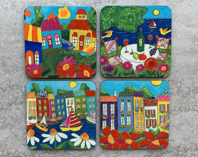 Set of Coasters wood cork colourful houses flower sea sailboat bird wine