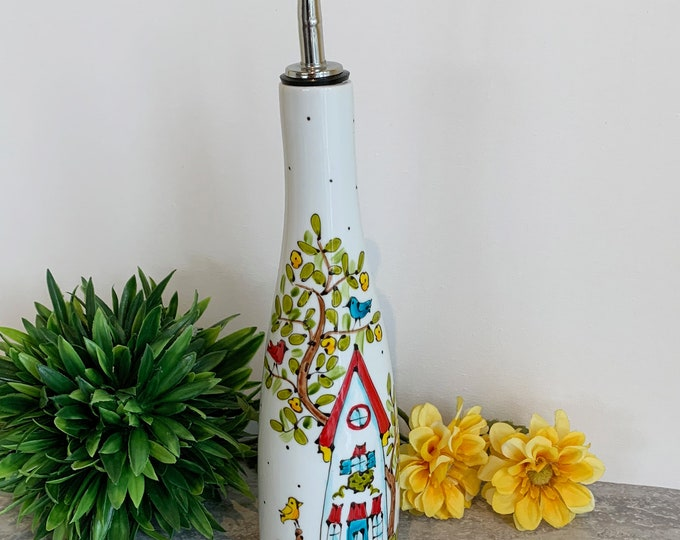 Olive oil Dispenser porcelain red roof houses tree vinegar Hand painted