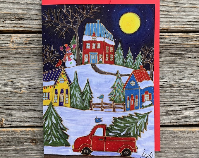 """Greeting card,  red truck, christmas tree, winter scene, 5"""" x 7"""", by artist Isabelle Malo"""