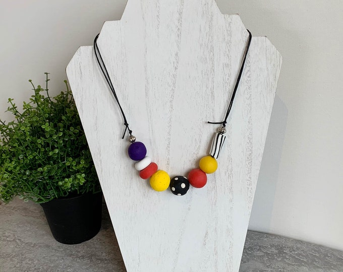 Polymer clay bead necklace yellow red black white purple hand made