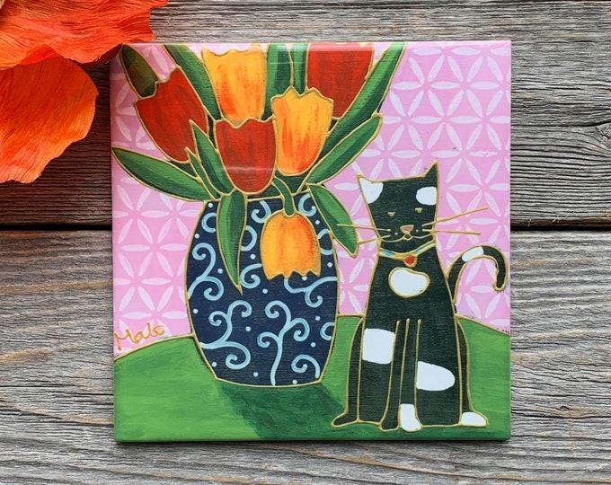 Ceramic tile trivet black and white cat tulip art print ceramic