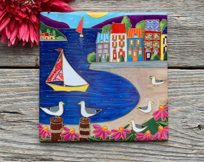 Ceramic tile trivet colourful sailboat colourful houses pink flower bird