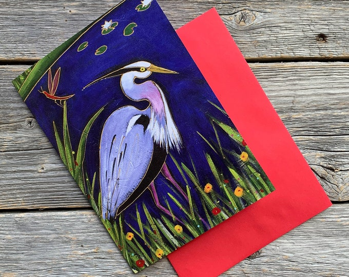 Greeting card blue heron
