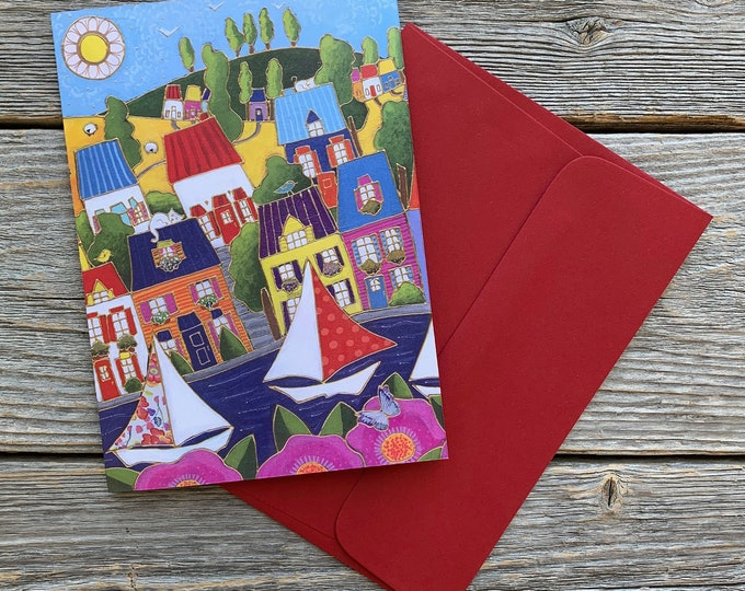 Greeting card colourful houses sailboat