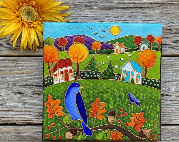 Original acrylic painting on canvas autumn landscape colourful house sheep blue bird