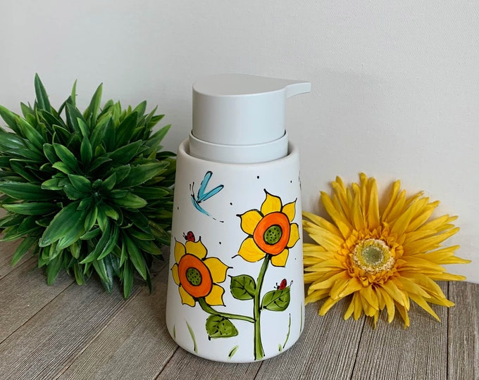Soap dispenser white mat porcelain sunflower ladybug blue dragonfly hand painted