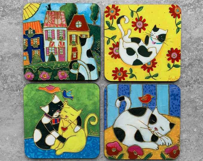Set of Coasters wood cork Cat lover flower bird colourful houses