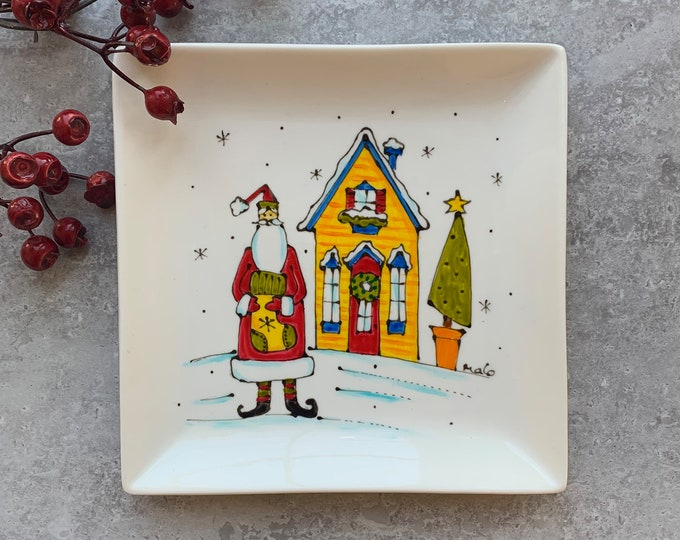 Square porcelain plate hand painted Santa Claus house Christmas tree