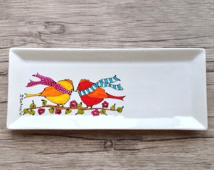 rectangle porcelain plate two bird with scarf