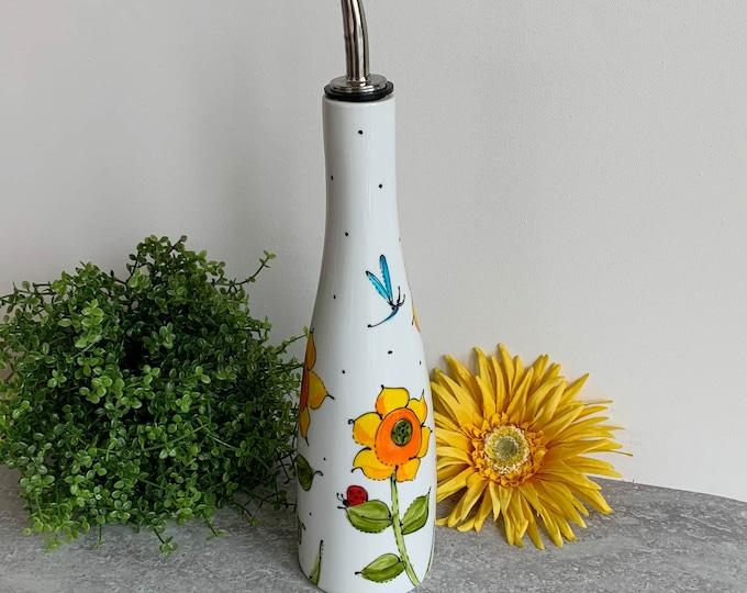 Olive oil Dispenser porcelain sunflower ladybug dragonfly vinegar Maple sirop Hand painted