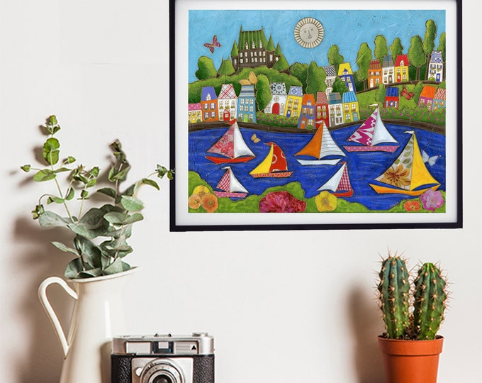 Poster art print sailboat colourful house Quebec city