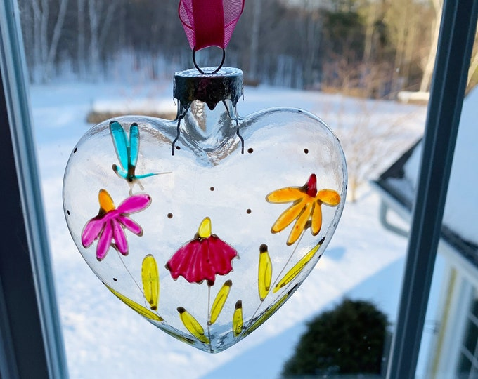 Sun catcher blowing glass heart hand painted flower