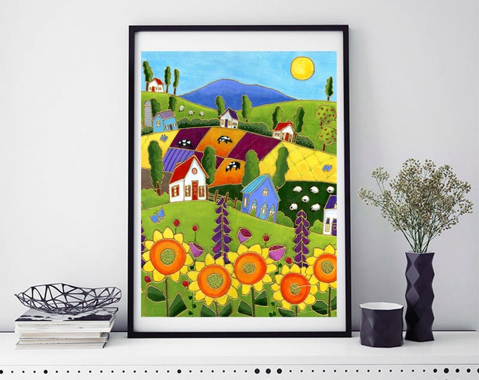 Poster wall decoration sunflower landscape colourful houses