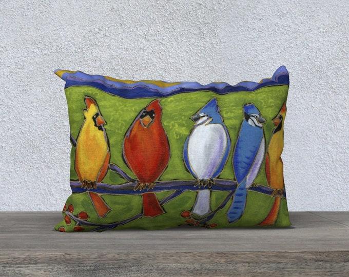 Cushion cover Velveteen pillow cover red cardinal bird blue jay
