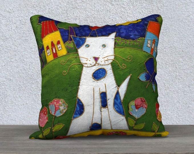 Cushion cover Velveteen white and blue cat