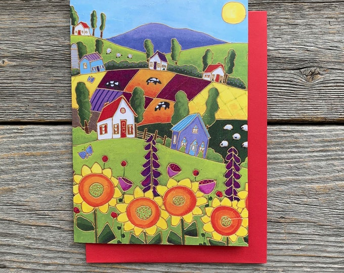 Greeting card sunflower landscape colourful houses cow sheep