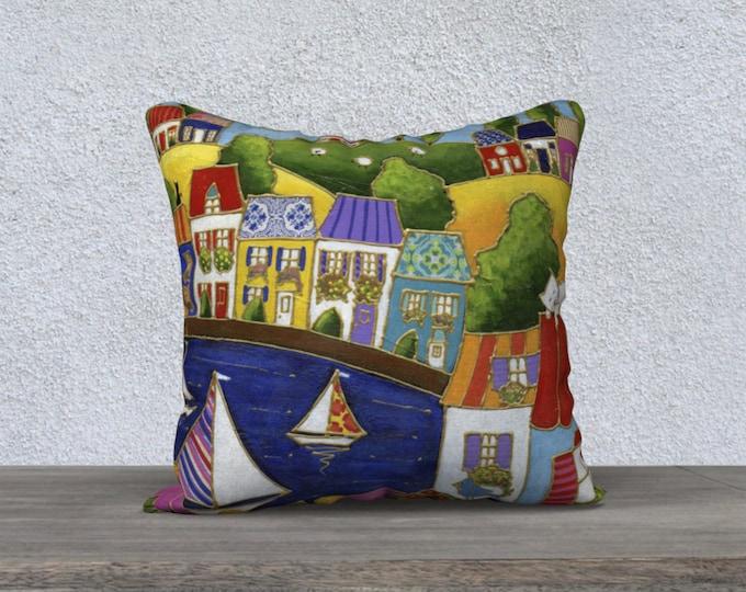 Cushion cover Velveteen landscape colourful houses sailboat flower