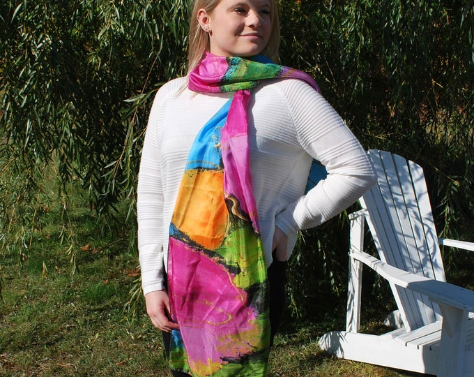 Silk scarf yellow blue pink and green flower for woman
