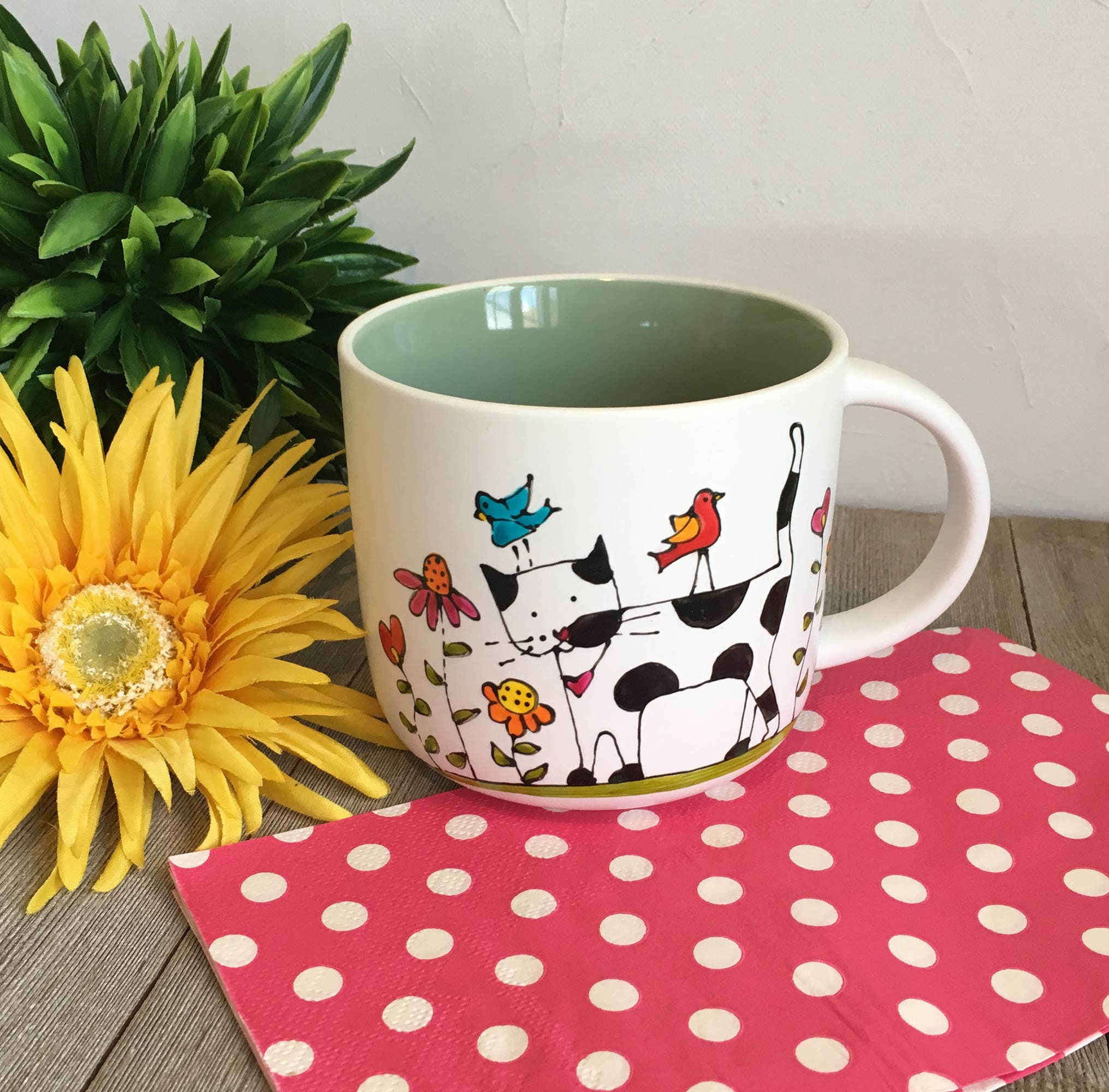 4893aac4802 Coffee Mug Porcelain, Cat, colourful, flowers, birds, coffee cup ...