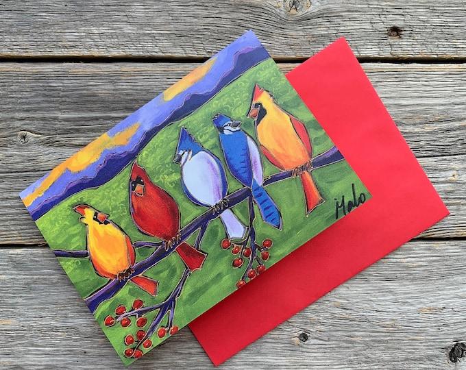 Greeting card blue jay red cardinal