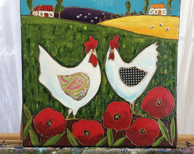 Original acrylic painting on canvas hen red poppy