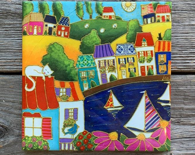 Ceramic tile trivet colourful house sailboat square trivet art print ceramic