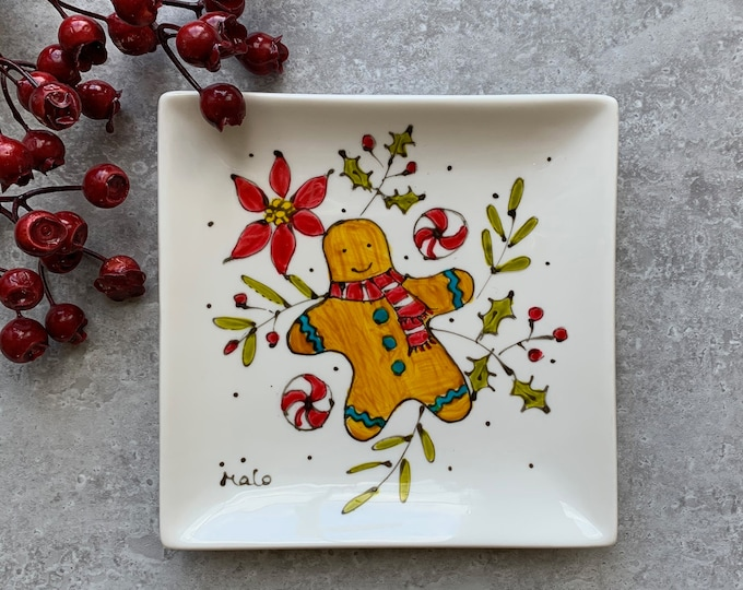 Small square porcelain plate or tray gingerbread man