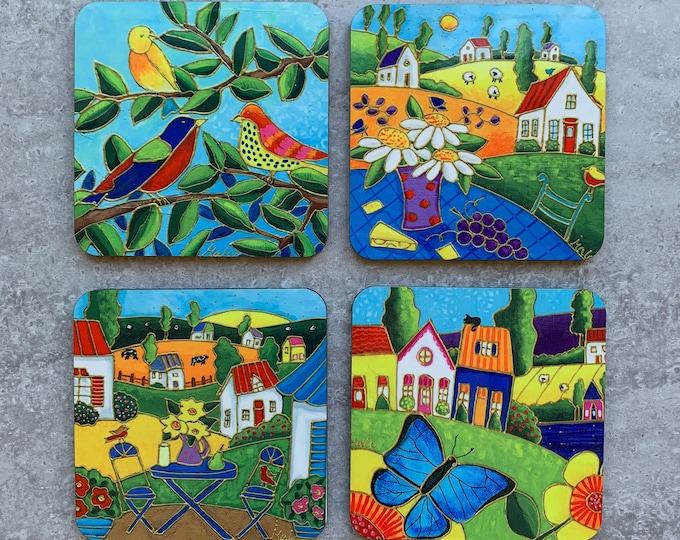 Set of Coasters wood cork landscape colourful house bird